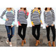 Wholesale Lady Cute Color Block Striped Tunic