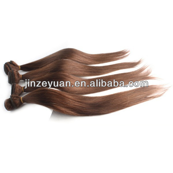 2014 Fashion style medium brown color hair straight 100 real human hair weave