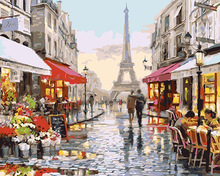 free painting Paris Towel scenery oil painting paint by numbers for adults