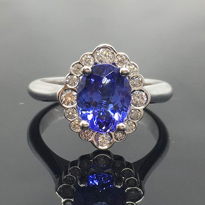 62db2785c Get Quotations · Tanzanite Engagement Ring - 14K White Gold Tanzanite  Diamond Halo Engagement Ring - Bezel Diamond Halo
