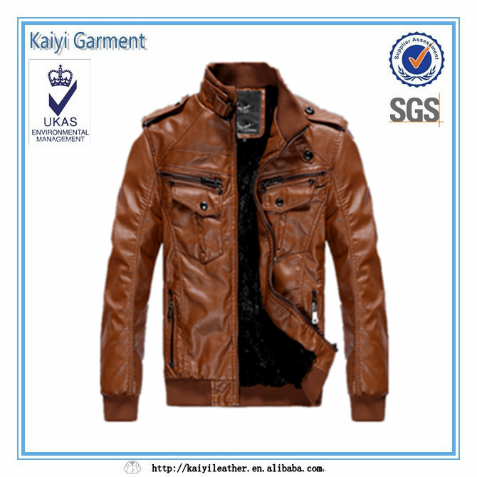 2017 fashion cool mens brown pu leather garment wholesale market