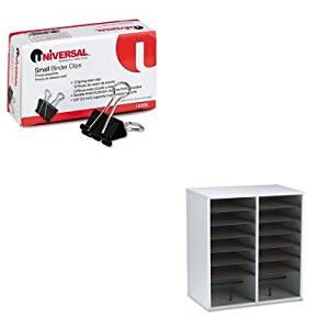 KITSAF9422GRUNV10200 - Value Kit - Safco Wood/Laminate Literature/CD Sorter (SAF9422GR) and Universal Small Binder Clips (UNV10200)