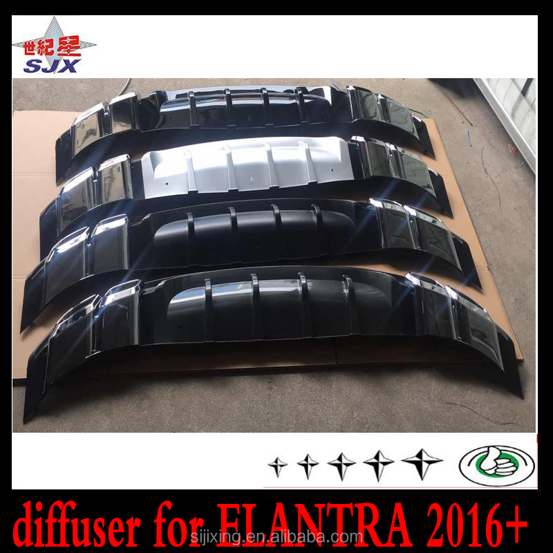 Rear diffuser for elantra 2016 2017 pp plastic black body parts factory direct supply