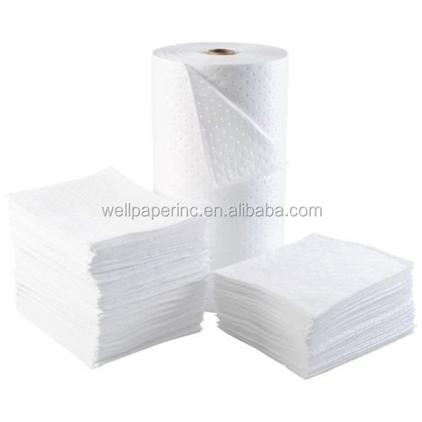 "Heavy Weight Meltblown Oil Only Absorbent Bonded Pad, 15"" Length x 17"" Width, White (100 per Bale)"