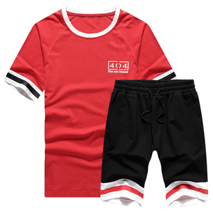 Simple chic fashion design for men clothing sets with round neck tee shirt&shorts in wholesale