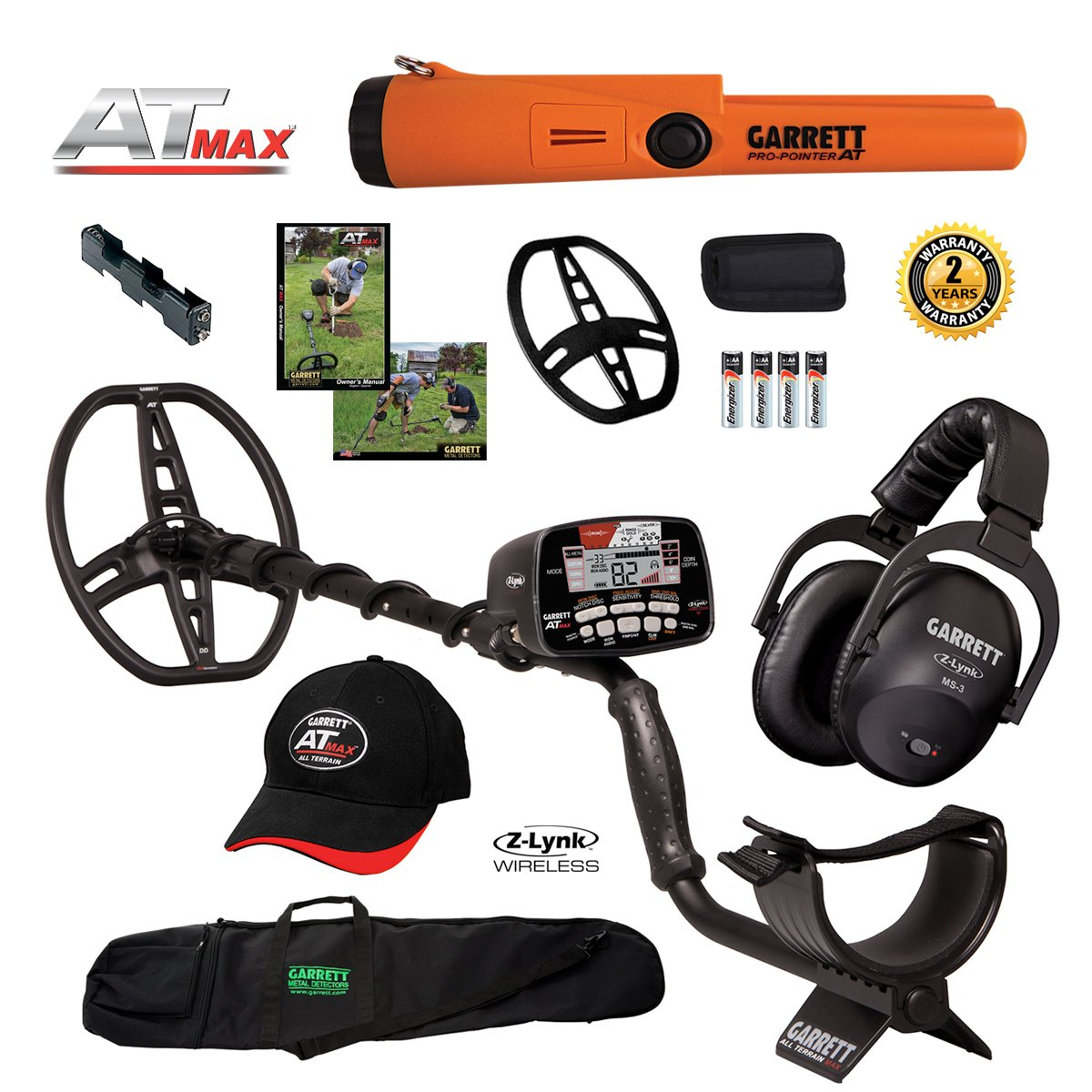 Garrett AT MAX Metal Detector with MS-3, Pro-Pointer AT, Carry Bag & More