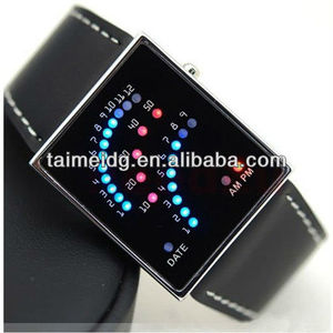 (TM-1336) 2013 New TAIMEI unisex iron geisha led watch, sport stainless steel back with leather strap