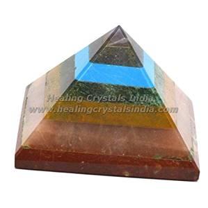 Healing Crystals India A Single 7 Gemstone Yogic Chakra (Root (Muladhara), Sacral (Swadhisthana), Solar Plexus (Manipura), Heart (Anahata), Throat (Vishuddhi), Third Eye (Ajna), Crown (Sahasrara)) Pyramid 50 mm Natural Seven Chakra Bonded Pyramid Amethyst-Blue Aventurine-Lapis Lazuli-Green