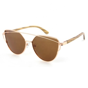 popular metal design logo frame safety golden wood sunglasses quality gold and wood glasses