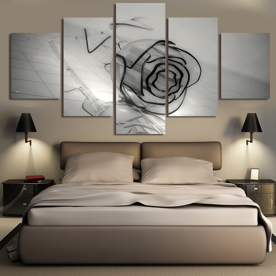 Unframed 5 Piece Black Rose Abstract Oil Painting Home Decor Canvas Art Picture On Wall Print Artworks Pictures