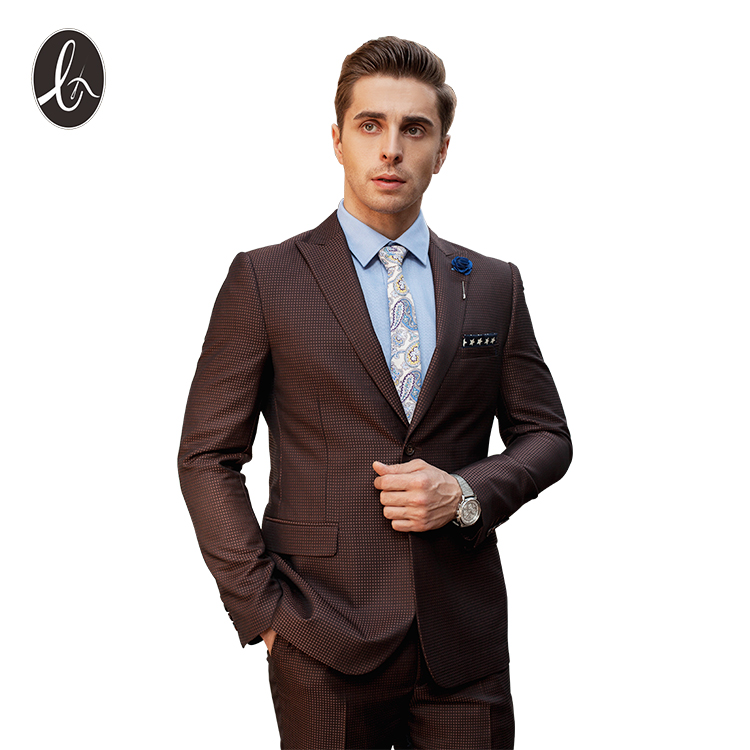Sur Mesure Un Bouton Manteau Pantalon Conceptions Marron Hommes Costume D'affaires