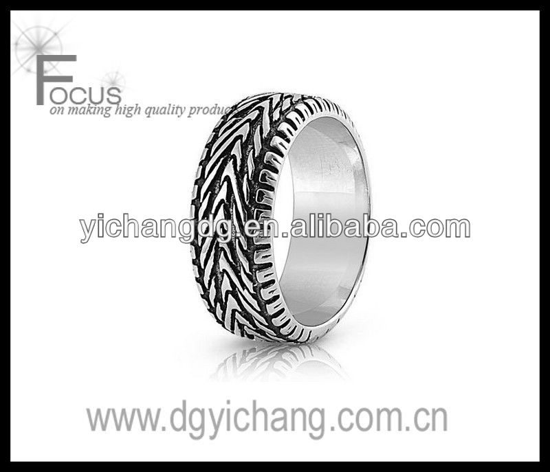 316L Stainless Steel Oxidized Ring - Tire Ring Design