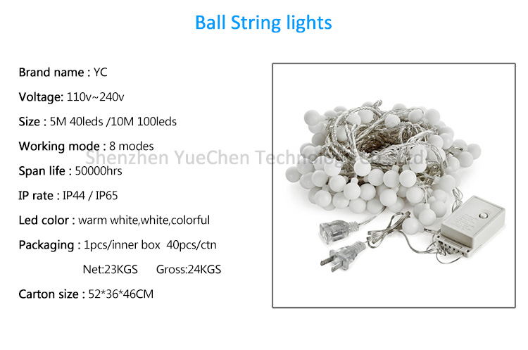 100 Led String Lights Globe Indoor Christmas 31V Safety Warm White  Fairy Festoon Party Lighting for Patio, Wedding, Bedroom