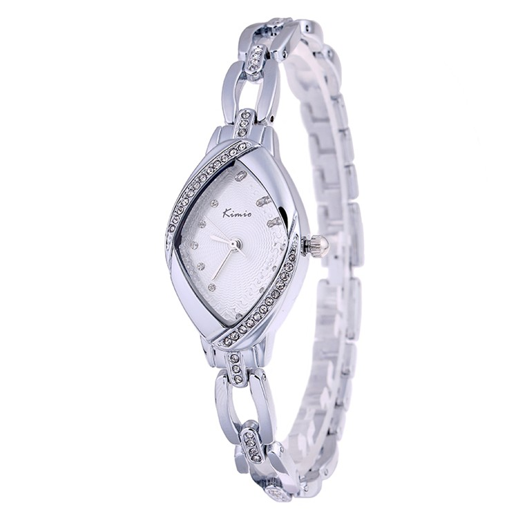 KIMIO Fashion and Casual Women's Luxury Watches Rhinestone Watchcase Silver Lady Steel Bracelet Watch with Exquisite Package