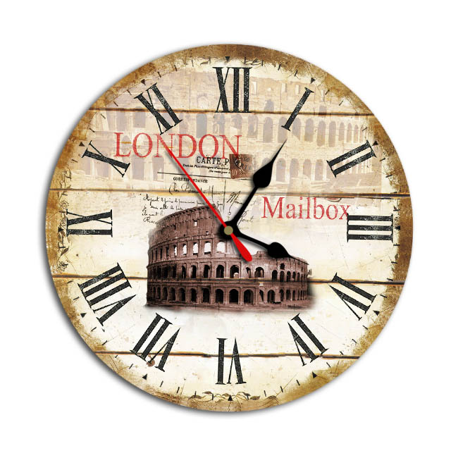 Glass home decor wall retro clock