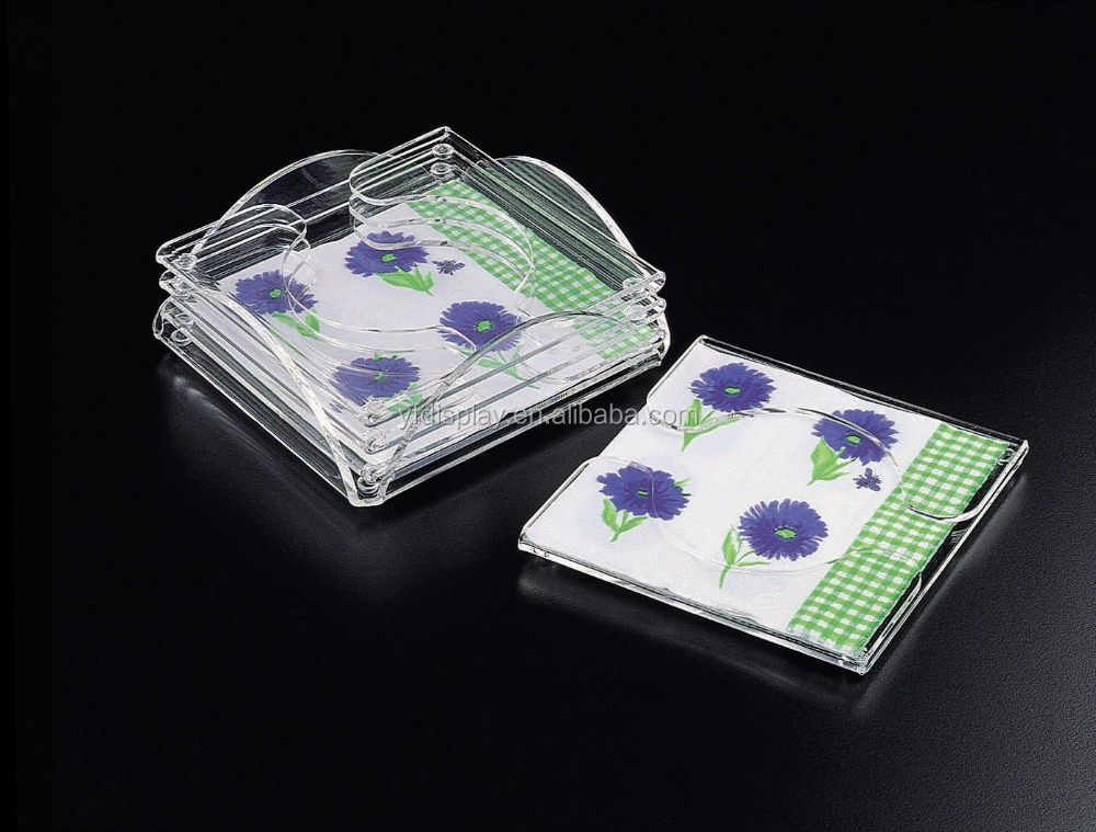 custom-made clear acrylic car cup holder coasters with napkins