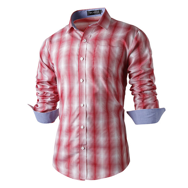 Plaid Shirt Men 2015 Korean Style Fashion Brand Slim Fit Men's Shirt Long Sleeve Turn Down Collar Design Hot Male Clothes EHY627