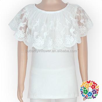 e834c7fd3c6c59 Latest Designs Baby Clothes Big Lace Fringe Baby Tank Top Shirts Wholesale  Plain White Cotton Lace