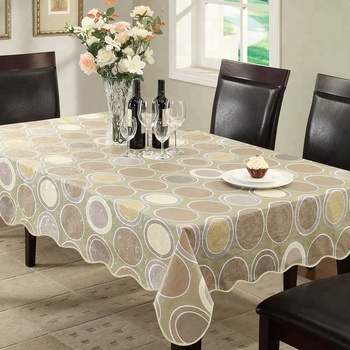 Wholesale Personalized Custom Brown Round Design Plastic Table Cloth
