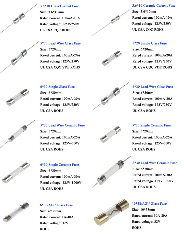 electronic components glass  ceramic fuse 15a 250v types