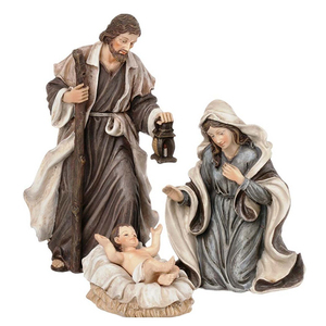 "Holy Family 3 Piece 6"" Cheap Resin Nativity Set"