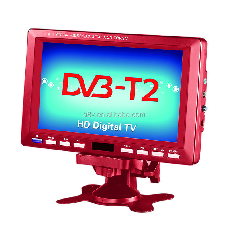 7inch 7V-12V DC solar energy tv with digital TV function DVB-T2, DVB-T MPEG2/4,H.264, ISDB-T
