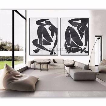Uitgelezene Handgemaakte Abstract Naakt Art Acryl Moderne Wall Art Zwart-wit CP-71