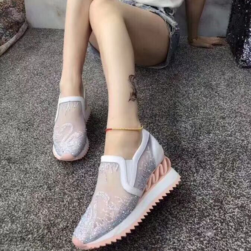 Thick leather casual cake sports bottom shoes cool single mesh bottom sponge tide wild flat TrwTa