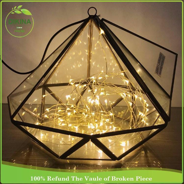 Hand Blown Art Glass Vase - Glass + Metal Stands Transparent Glass ...