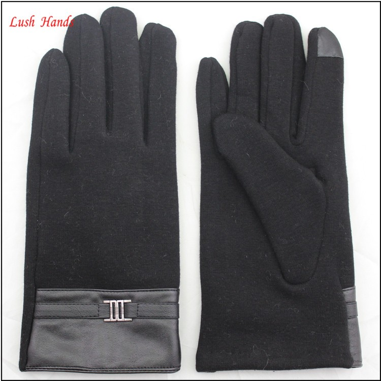 ladies simple micro velvet touch finger hand gloves women with PU belt