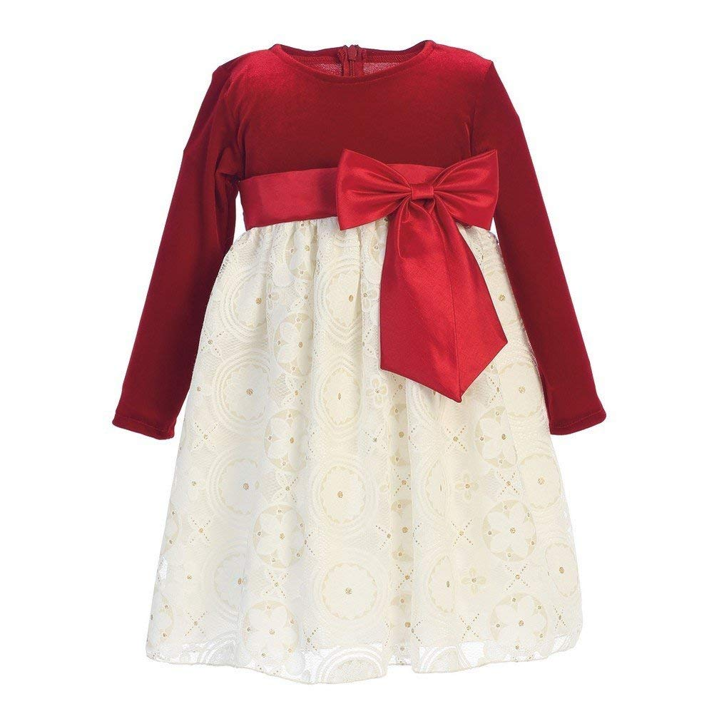 ac8fb0fa99d35 Get Quotations · Lito Big Girls Red Ivory Velvet Glitter Embossed Lace  Christmas Dress 7-10
