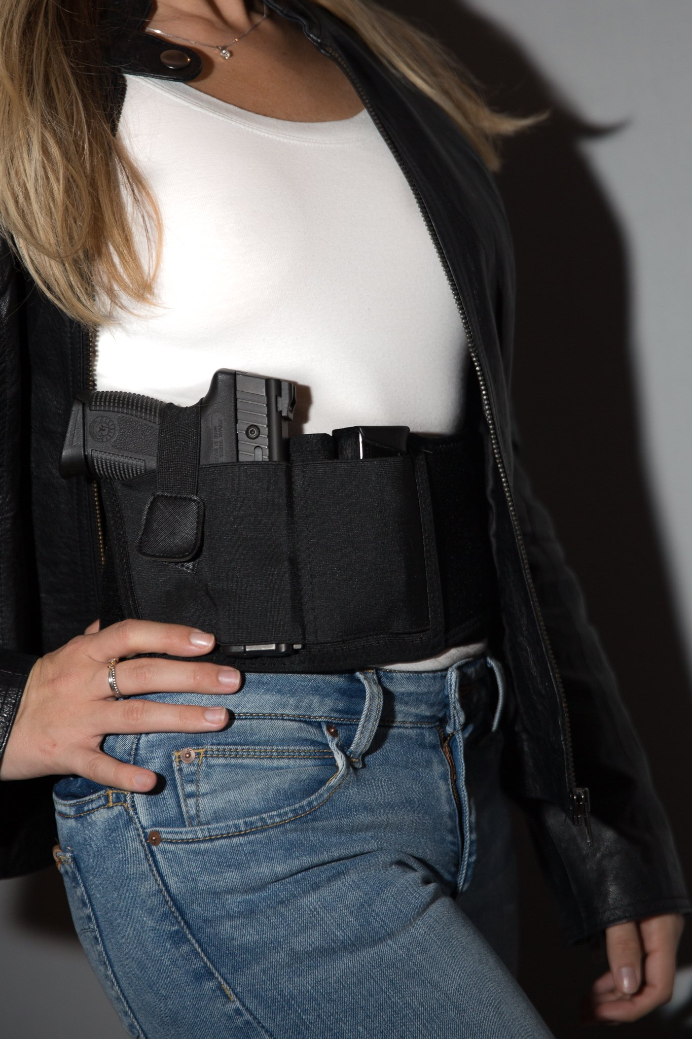 Concealed Carry Holster Fanny Pack by Gabico | Safe Belly Band for Glock Gun Concealment|Inside/Outside Waistband Wrap Belt for Men and Women|Ultimate Comfort for Running|Fits 4 Size Pistols|Black