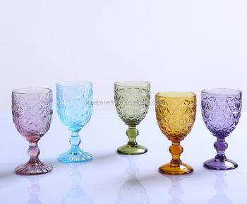 Wholesale decorative goblet wine glass amber colored glass for Decorative wine glasses cheap