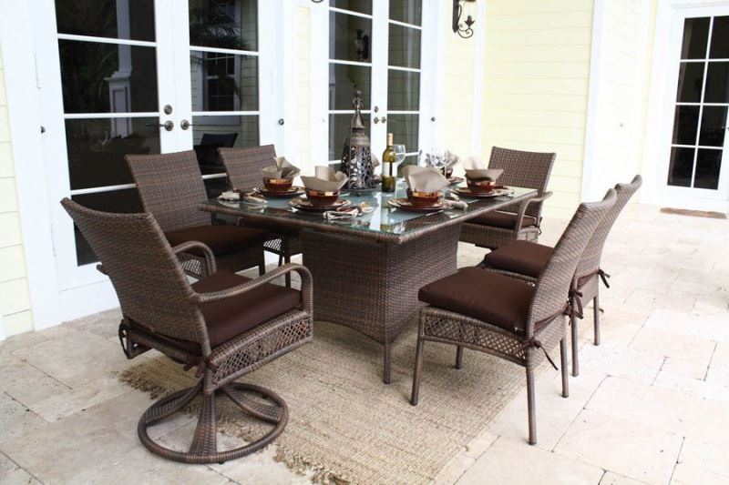 Sailing Leisure Outdoor Wicker Ratan 6 Seater Rattan Dining Table Garden Furniture