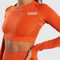 2019 Yoga Top Long Sleeve Seamless Sports Crop Top Custom Logo Gym Wear Women
