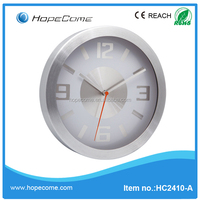 (M2410A) quanzhou crafe promotional glass 10 inch wall clock with aluminum dial