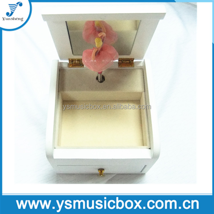 White Wooden Music box Pink dancing doll custom jewelry box jewelry box