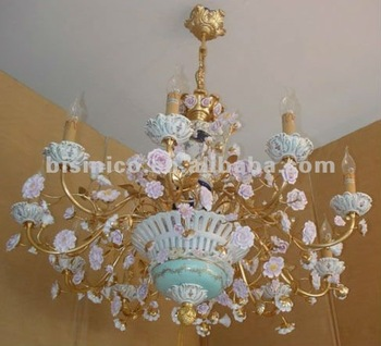 Beautiful Porcelain Flora Candle Lamp Style Chandelier Residential Lighting Pendent Copper Gold Plated