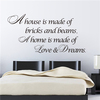 ZOOYOO show pieces for home decoration decorative wall stickers Home is love and dream (8354)
