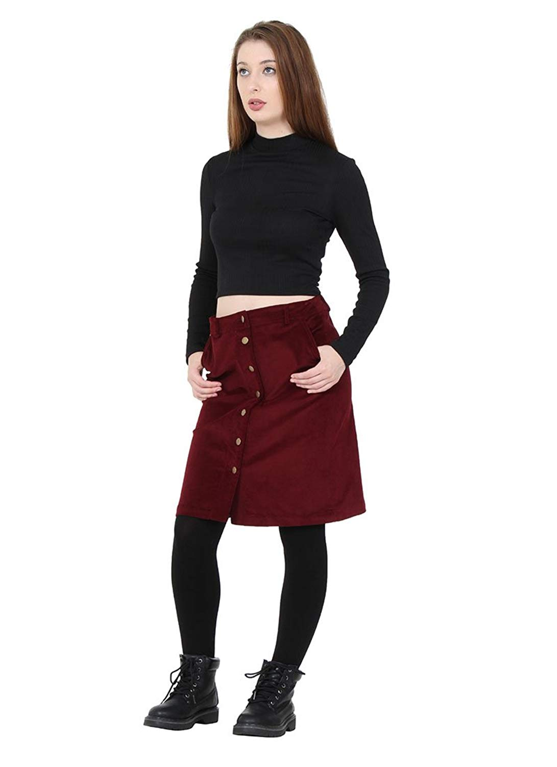 12412fcf0 Get Quotations · K Zell Button Front Corduroy Skirt knee-length ladies cord  skirt with stretch