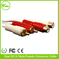 Jack 3.5 mm 2 RCA Male Female Mono Stereo Extension Audio Cables with Connectors