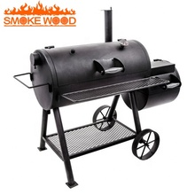 2019 Outdoor zware Commerciële Draagbare Trolley Vat Offest Houtskool <span class=keywords><strong>BBQ</strong></span> Grill <span class=keywords><strong>Roker</strong></span>