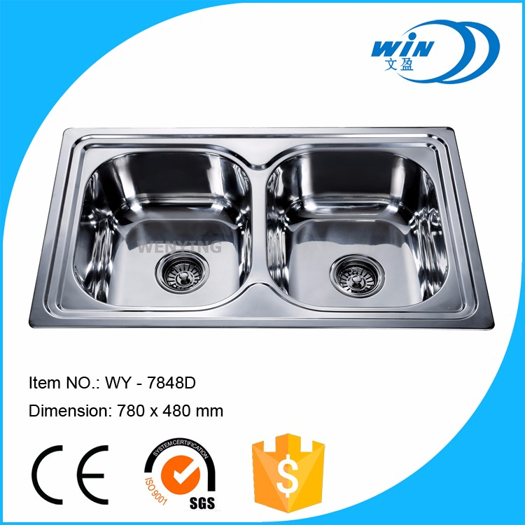 Undermount Installation Type and Polished Surface Treatment Double Bowl stainless steel kitchen sink