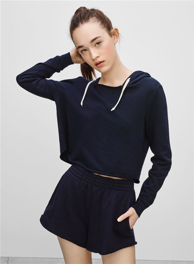 Womens Crop Top Hoodie Wholesale Navy Blue Blank Cropped Pullover ...