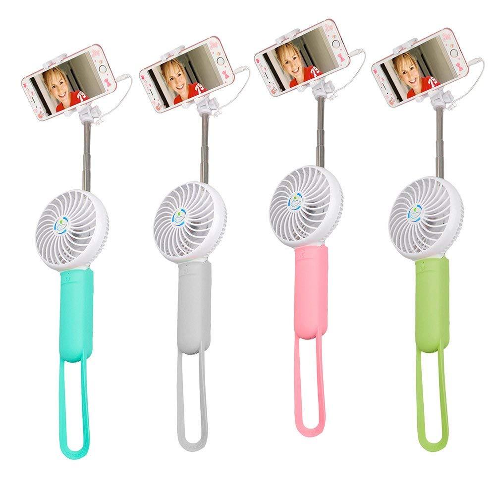 ERTIANANG Selfipalka Portable Handheld Selfish stick Selfie Shutter Super Mute USB/Battery monopod Mini Fan Cooling Cooler w/Selfie Stick