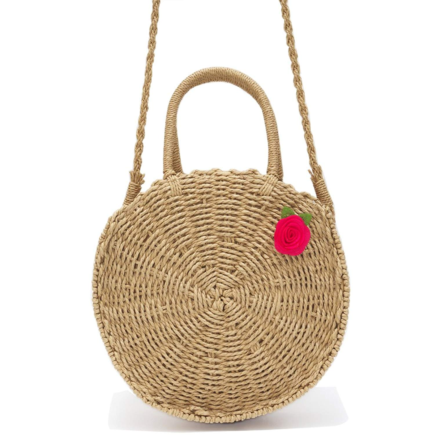 d09329f247c3 Get Quotations · DSAKGTE Round Straw Bag Rattan Woven Purse Womens  Crossbody Beach Bag Handbags