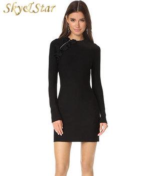 b176151ad69d Женщины Черный С Длинным Рукавом Bodycon Ruffle Trim Mini Sport Knit Платье  С Ребристыми ...