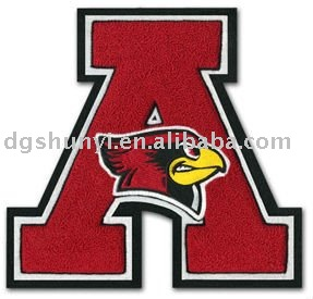 high quality letters chenille embroidered iron on patches custom design a badges manufacturer