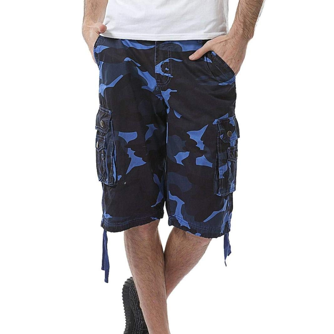 a5116ee478 Get Quotations · Scaling Men's Fashion Cargo Shorts Casual Loose Camo Short  Pants Elastic Waist Beach Gym Sport Short
