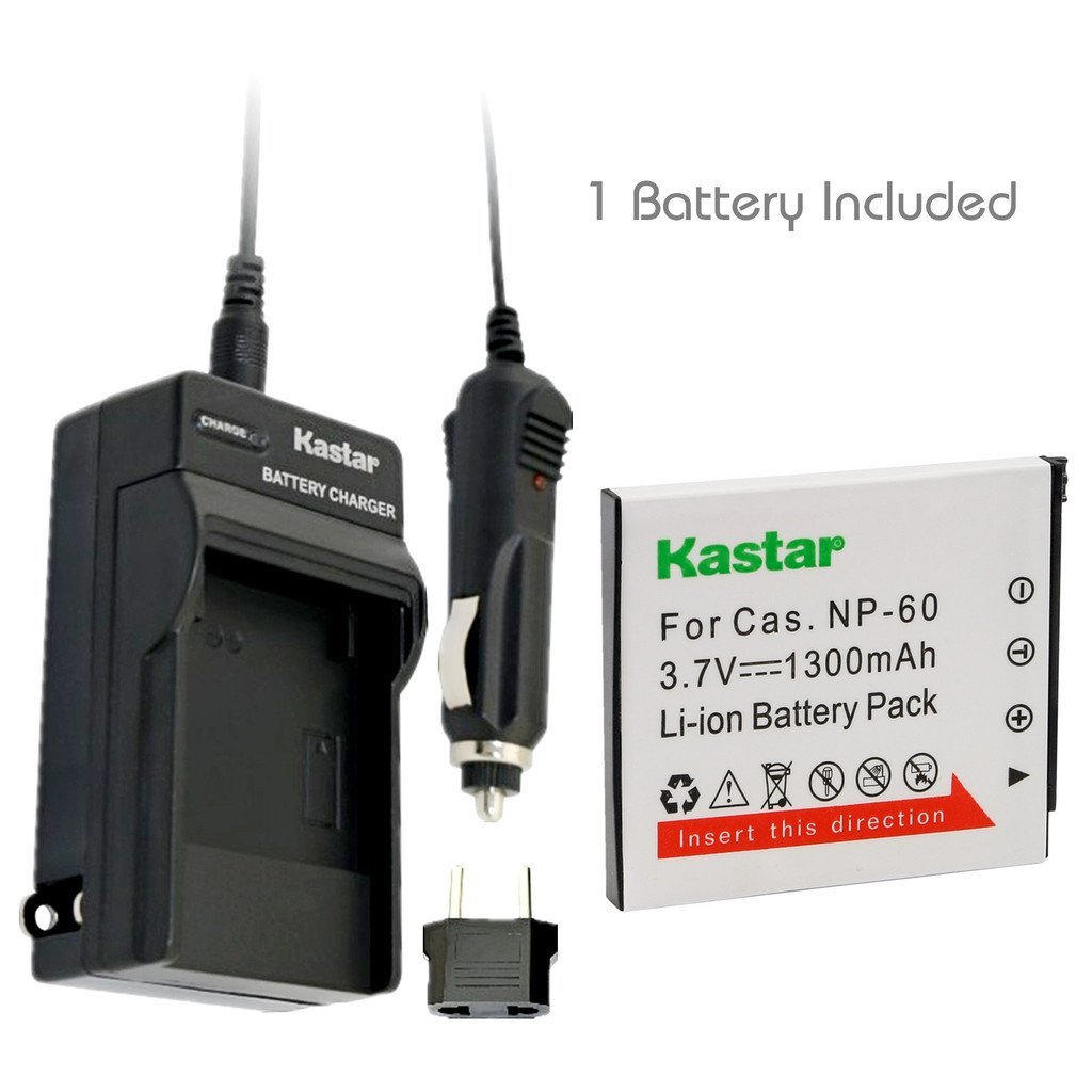 Kastar Battery (1-Pack) and Charger Kit for Casio NP-60 NP60 CNP60 and Casio Exilim EX-FS10 EX-S10 EX-S12 EX-Z9 EX-Z19 EX-Z20 EX-Z21 EX-Z25 EX-Z29 EX-Z80 EX-Z85 EX-Z90 Digital Cameras